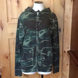 LUCKY BRAND 2-Pckt ZipUp Camo ☮️Wings HOODIE NWT L